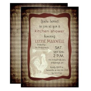 Rustic Country Check Rooster Kitchen Shower Invitations