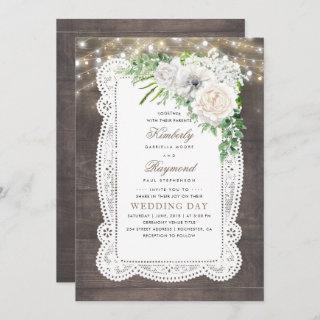 Rustic Country Chic Floral String Lights Wedding Invitations