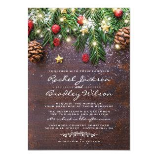 Rustic Country Christmas Holiday Winter Wedding Invitations
