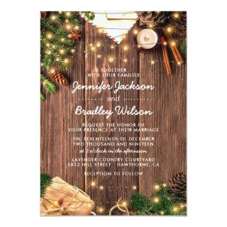 Rustic Country Christmas Themed Wedding Invitations