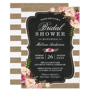 Rustic Country Floral Burlap Stripes Bridal Shower Invitations
