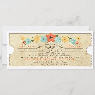 Rustic Country Floral Ticket Tea Length Invitations