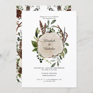 Rustic Country Floral Wedding Engagement Party Invitation
