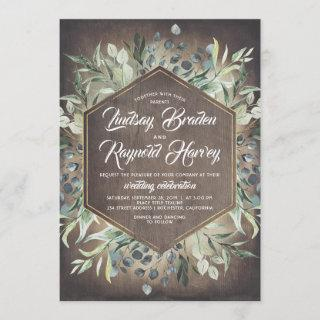 Rustic Country Greenery Foliage Barn Wedding Invitation