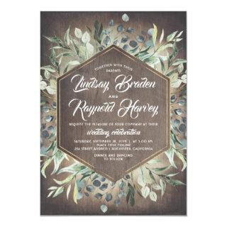 Rustic Country Greenery Foliage Barn Wedding Invitations