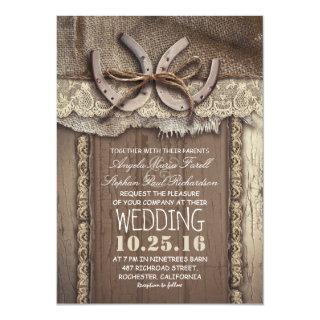 Rustic Country Horseshoes and Burlap Lace Wedding Invitations