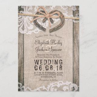 Rustic Country Horseshoes Burlap Lace Barn Wedding