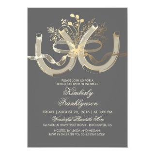 Rustic Country Horseshoes Gold Grey Bridal Shower Invitations