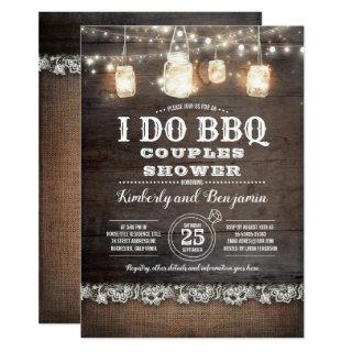 Rustic Country - I DO BBQ Couples Shower Invitations