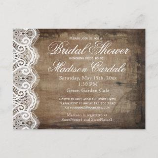 Rustic Country Lace Bridal Shower Invite Postcards