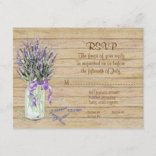 Rustic Country Mason Jar Flowers White Hydrangeas RSVP Card