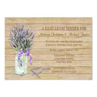 Rustic Country Mason Jar French Lavender Bouquet Invitation
