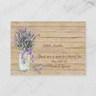 Rustic Country Mason Jar French Lavender Bouquet Place Card