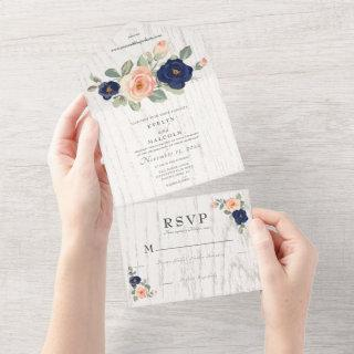 Rustic Country Navy Blue and Peach Floral Wedding All In One