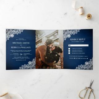Rustic Country Navy Blue Wood Lace Wedding Photo Tri-Fold Invitations