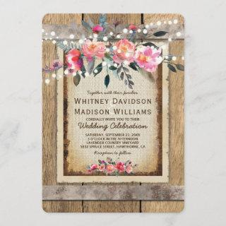 Rustic Country Oak Barrel Burlap and Wood Wedding Invitation