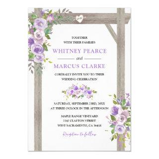 Rustic Country Purple Floral Wedding Pergola Invitations