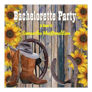 Rustic country ranch bachelorette party invitation
