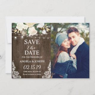 Rustic Country Romantic Chic Save the Date Photo