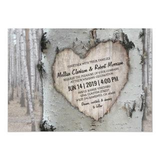 Rustic Country Silver Birch Tree Wedding Invitation
