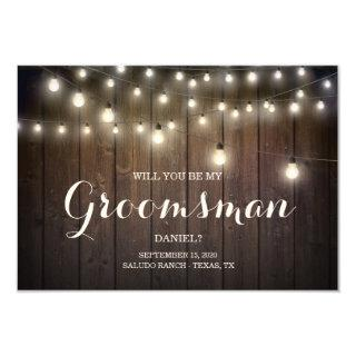Rustic Country String Lights Be My Groomsman Cards
