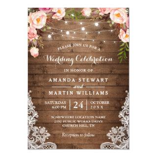 Rustic Country String Lights Floral Lace Wedding Invitations