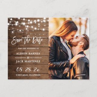 Rustic Country String Lights Photo Save the Date Postcard
