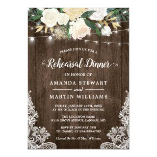 Rustic Country Style Ivory Floral Rehearsal Dinner Invitations