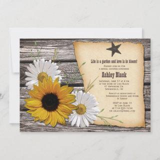 Rustic Country Sunflower Daisy Bridal Shower Invitation
