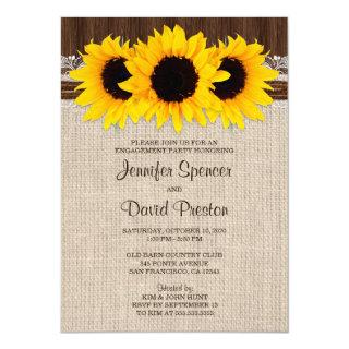 Rustic Country Sunflower Engagement Party Invitation