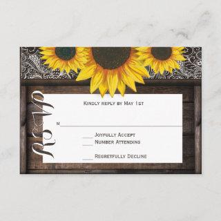 Rustic Country Sunflowers Wood Wedding RSVP Cards