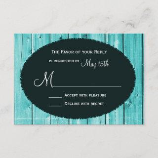 Rustic Country Teal Barn Wood Wedding RSVP Cards