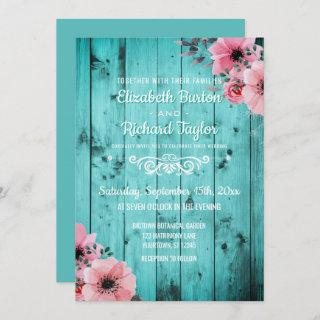 Rustic Country Teal Wood Pink Floral Boho Wedding Invitations