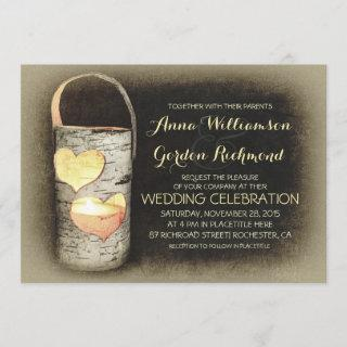 Rustic Country Tree Candle Wedding Invitations