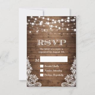 Rustic Country Twinkle Lights Lace Barn Wood RSVP