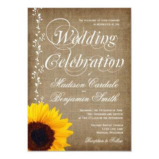 Rustic Country Vintage Sunflower Wedding Invites