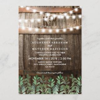 Rustic Country Wedding   Greenery Leaves Invitations