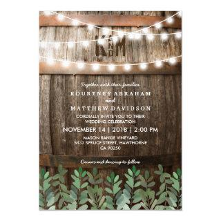 Rustic Country Wedding | Greenery Leaves Invitations