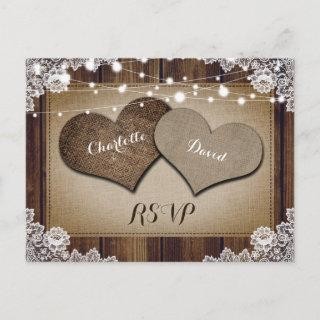 Rustic Country Wedding RSVP Postcard Meal Choice