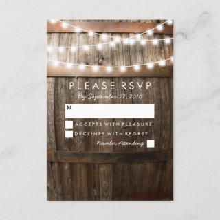 Rustic Country Wedding RSVP   String of Lights