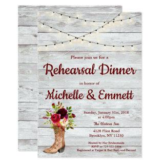 Rustic Country Western Boot Boho Rehearsal Dinner Invitations