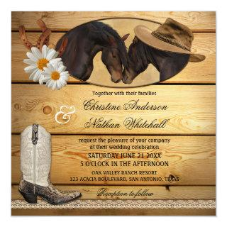Rustic Country Western Horses Wedding Invitations