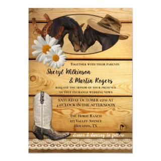 Rustic Country Western Horses Wedding Invitation