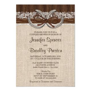 Rustic Country Western Horseshoe Couples Shower Invitation