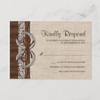 Rustic Country Western Horseshoe RSVP Cards