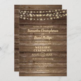 Rustic Country Wood and String Lights Wedding