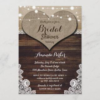 Rustic Country Wood Burlap Lace Bridal Shower Invitation