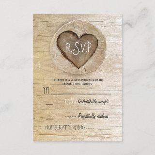 Rustic country wood heart wedding RSVP cards