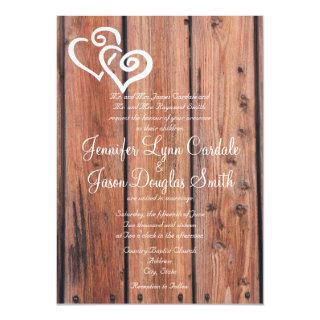 Rustic Country Wood Hearts Wedding Invitation