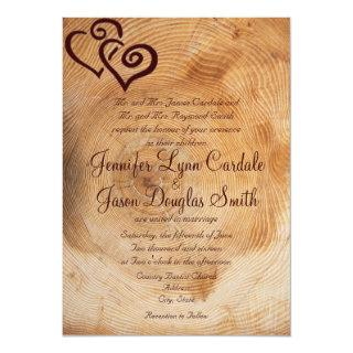 Rustic Country Wood Hearts Wedding Invitations